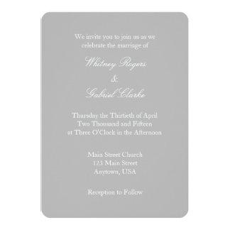 Gray Grey White Plain Simple Wedding Invitation