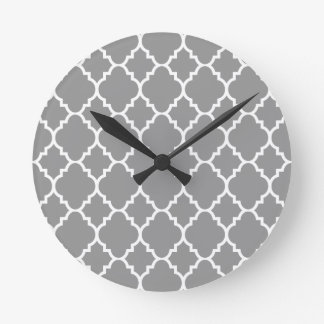 Gray Grey White Quatrefoil Moroccan Pattern Wall Clocks