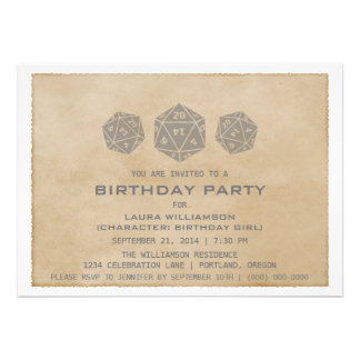 Gray Grunge D20 Dice Gamer Birthday Party Invite