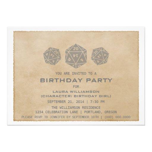 Gray Grunge D20 Dice Gamer Birthday Party Invite