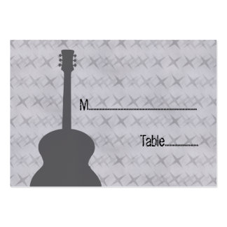 Gray Guitar Grunge Place Card Business Card Template