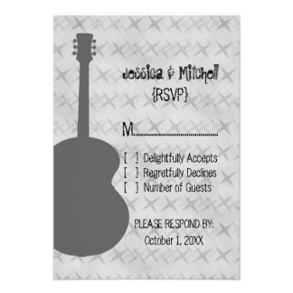 Gray Guitar Grunge Response Card