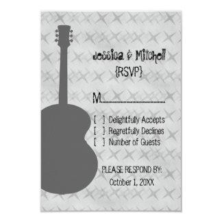 "Gray Guitar Grunge Response Card 3.5"" X 5"" Invitation Card"