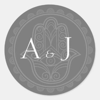Gray hamsa round stickers
