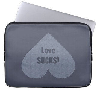 Gray Heart Anti-Valentine custom laptop sleeves