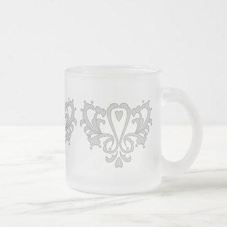 Gray Heart Damask Coffee Mug