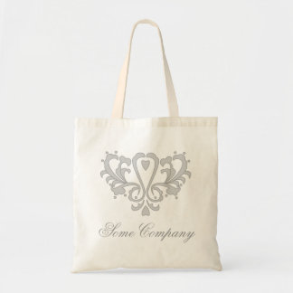 Gray Heart Damask Budget Tote Bag