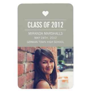 Gray Heart Design Photo Graduation Magnet