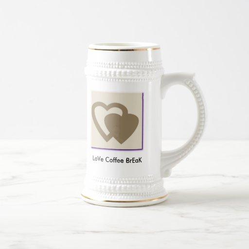 GRAY HEART, LoVe Coffee BrEaK Coffee Mugs