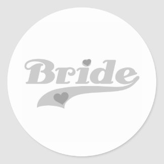 Gray Hearts Bride Round Sticker