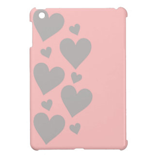 Gray hearts on a pink background iPad mini cover