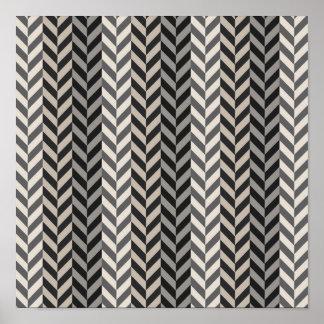 Gray Herringbone Alternating Stripes Pattern Poster