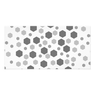 Gray Hexagons Pattern. Personalized Photo Card