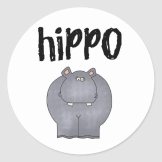 Gray Hippo Classic Round Sticker
