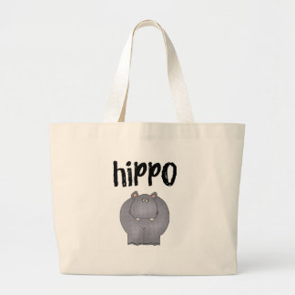 Gray Hippo Large Tote Bag