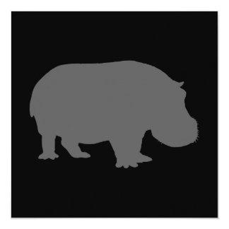 Gray Hippo Silhouette Card