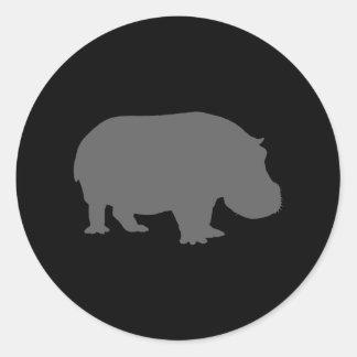 Gray Hippo Silhouette Classic Round Sticker