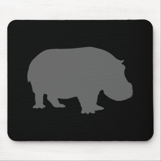 Gray Hippo Silhouette Mouse Mat