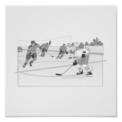 Gray Hockey Rink Posters