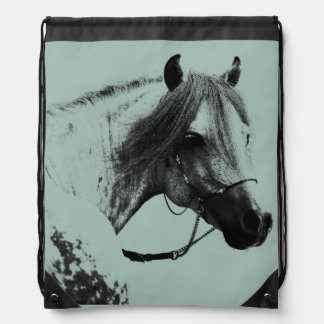 Gray Horse Head Drawstring Bag