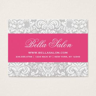 Gray & Hot Pink Elegant Floral Damask Business Card