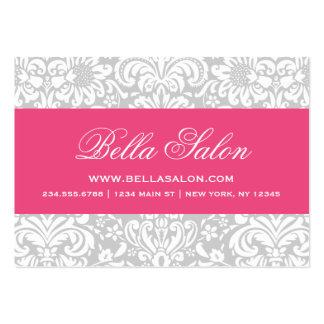 Gray & Hot Pink Elegant Floral Damask Business Card Templates
