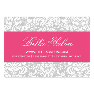 Gray & Hot Pink Elegant Floral Damask Pack Of Chubby Business Cards