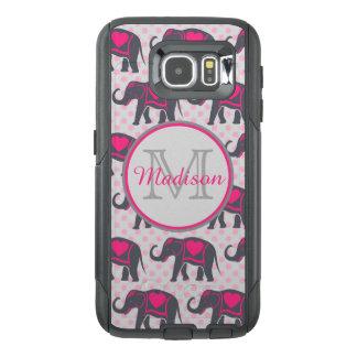 Gray Hot Pink Elephants on pink polka dots, name