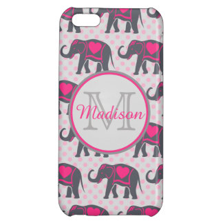 Gray Hot Pink Elephants on pink polka dots, name Cover For iPhone 5C