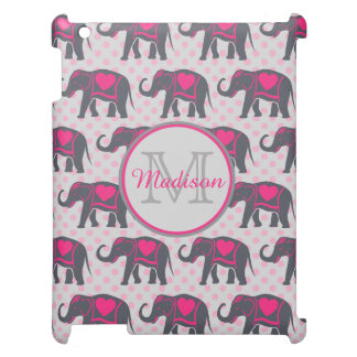 Gray Hot Pink Elephants on pink polka dots, name Cover For The iPad