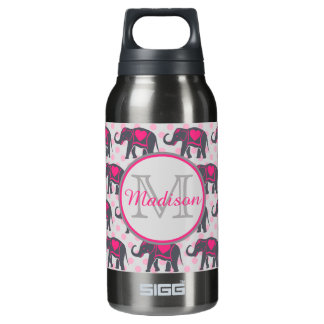 Gray Hot Pink Elephants on pink polka dots, name Insulated Water Bottle