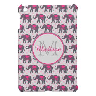 Gray Hot Pink Elephants on pink polka dots, name iPad Mini Case