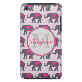 Gray Hot Pink Elephants on pink polka dots, name iPod Touch Case-Mate Case