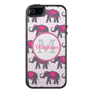 Gray Hot Pink Elephants on pink polka dots, name OtterBox iPhone 5/5s/SE Case