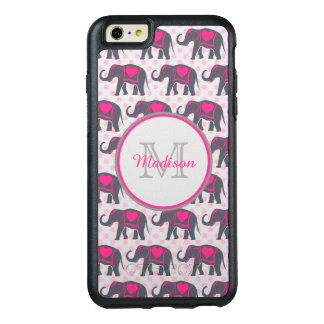 Gray Hot Pink Elephants on pink polka dots, name OtterBox iPhone 6/6s Plus Case