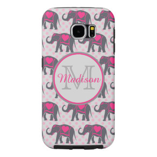 Gray Hot Pink Elephants on pink polka dots, name Samsung Galaxy S6 Cases