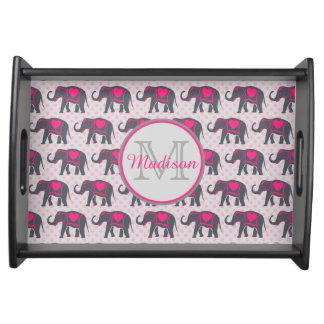 Gray Hot Pink Elephants on pink polka dots, name Serving Tray