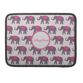 Gray Hot Pink Elephants on pink polka dots, name Sleeve For MacBooks