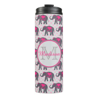Gray Hot Pink Elephants on pink polka dots, name Thermal Tumbler