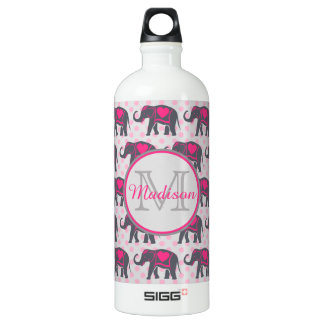 Gray Hot Pink Elephants on pink polka dots, name Water Bottle