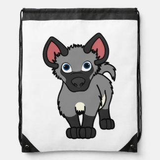 Gray Hyena Cub Drawstring Bag