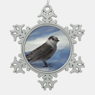 Gray Jay in the Snow Snowflake Pewter Christmas Ornament