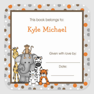 Gray Jungle Animals Book Plate bookplate label Square Sticker