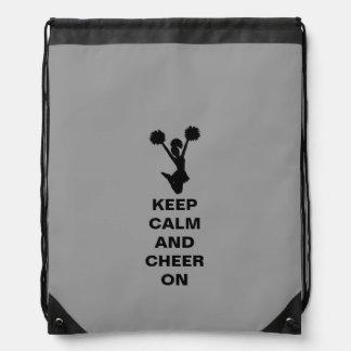 Gray Keep Calm Cheerleader Drawstring Backpack