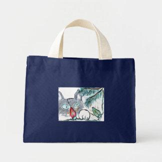 Gray Kitten eyes  Christmas Tree lights Canvas Bag