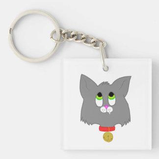 Gray Kitten Single-Sided Square Acrylic Keychain