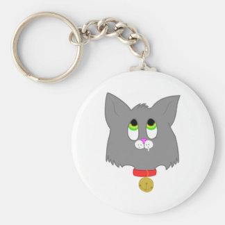 Gray Kitten Basic Round Button Keychain