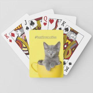 Gray Kitten Morning Coffee yellow Playing Cards