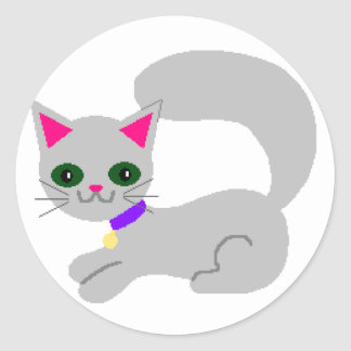 Gray Kitty with Green eyes and Purple Collar Round Sticker