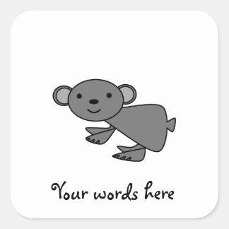 Gray koala square sticker